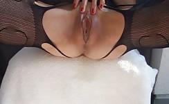 Masturbating after she finished peeing