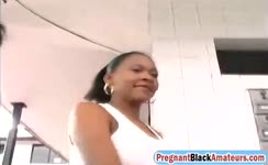 Pregnant black babe double filled