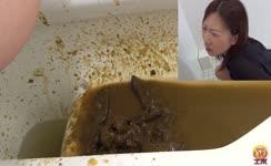 Brown haired babe has diarrhea