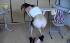 Hot college girl feeds teacher with shit