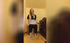 Blonde babe shitting in toilet