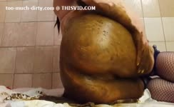 covered her sexy ass with poop