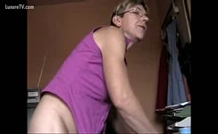 Mature babe masturbates and shits